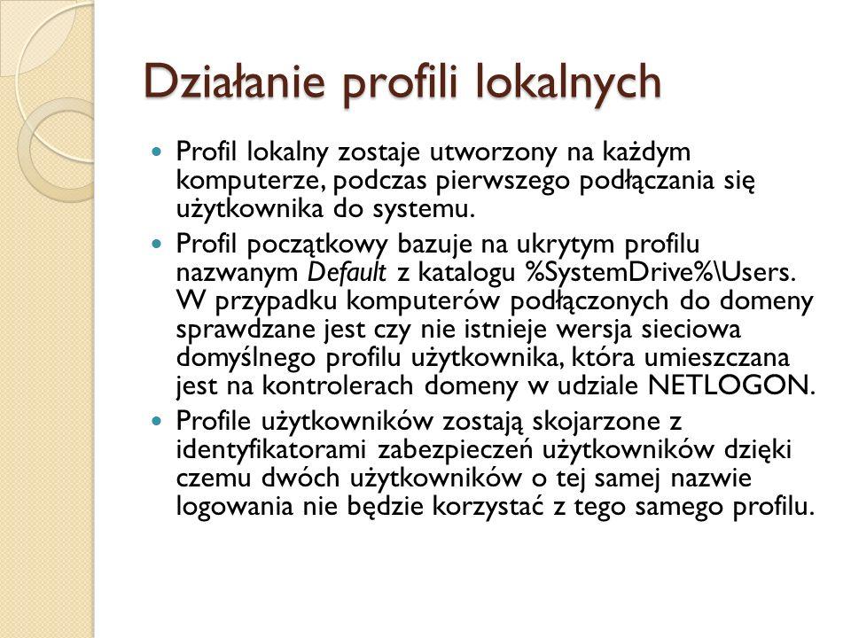Działanie profili lokalnych Profil lokalny zostaje utworzony na każdym komputerze, podczas pierwszego podłączania się użytkownika do systemu. Profil p