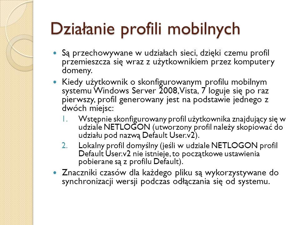 Konfigurowanie profili mobilnych Tworzymy udostępniony udział (%SystemRoot%\Profiles).