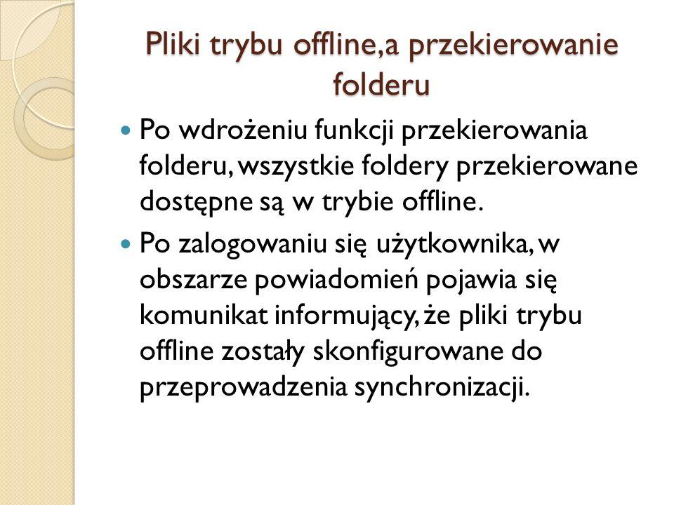 Pliki trybu offline,a przekierowanie folderu Po wdrożeniu funkcji przekierowania folderu, wszystkie foldery przekierowane dostępne są w trybie offline