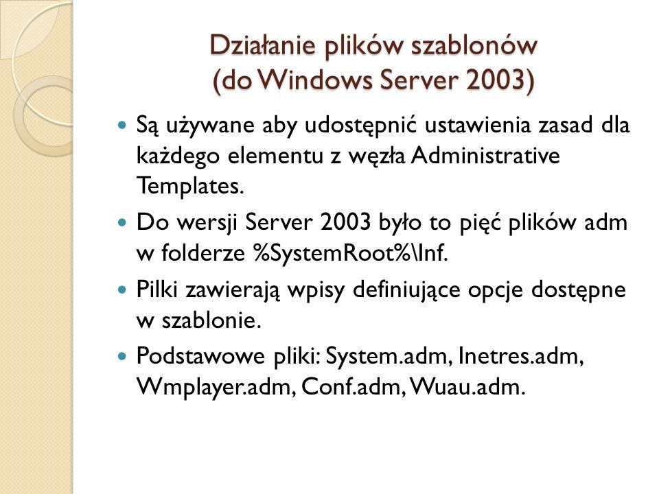 Działanie plików szablonów (do Windows Server 2003) Są używane aby udostępnić ustawienia zasad dla każdego elementu z węzła Administrative Templates.