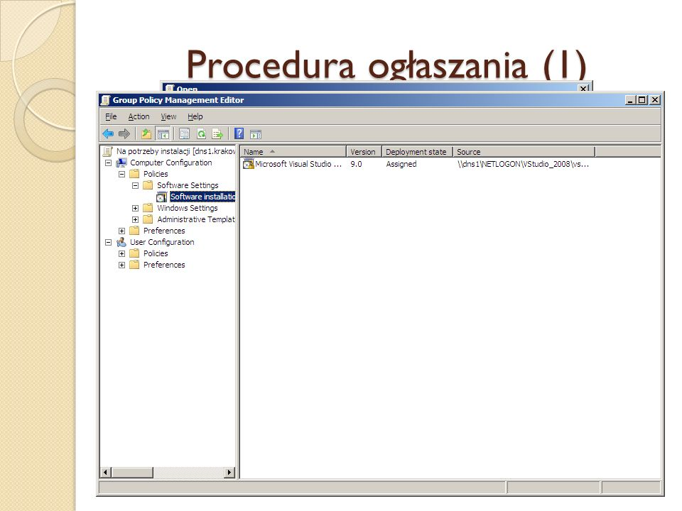 Procedura ogłaszania (1) 4. Znaleźć lokalizację w sieci lub wpisać ścieżkę dostępu do katalogu, do którego skopiowano pliki instalacyjne (należy używa