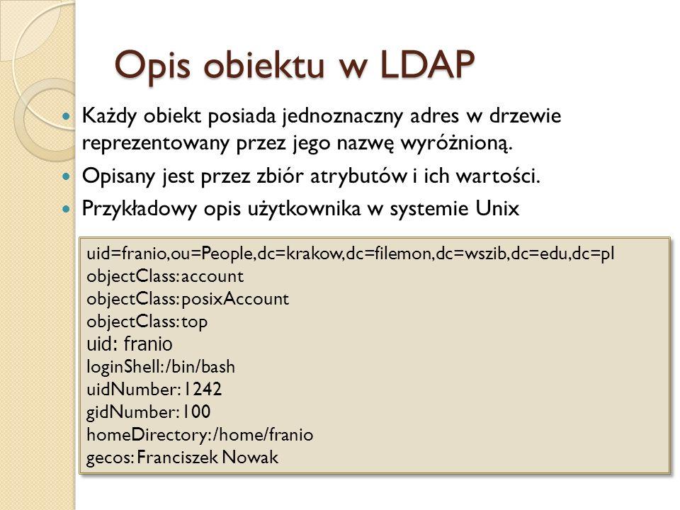 Opis obiektu w LDAP Każdy obiekt posiada jednoznaczny adres w drzewie reprezentowany przez jego nazwę wyróżnioną. Opisany jest przez zbiór atrybutów i