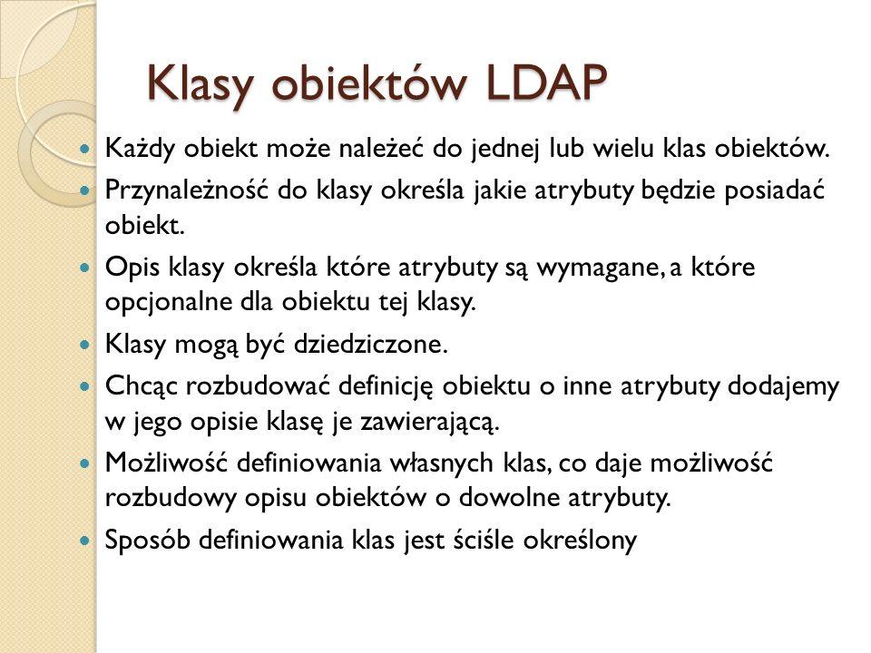 Klasy obiektów LDAP Każdy obiekt może należeć do jednej lub wielu klas obiektów. Przynależność do klasy określa jakie atrybuty będzie posiadać obiekt.
