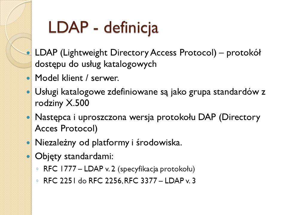 LDAP - definicja LDAP (Lightweight Directory Access Protocol) – protokół dostępu do usług katalogowych Model klient / serwer. Usługi katalogowe zdefin