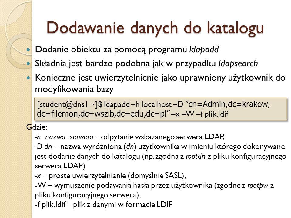 Dodawanie danych do katalogu Dodanie obiektu za pomocą programu ldapadd Składnia jest bardzo podobna jak w przypadku ldapsearch Konieczne jest uwierzy