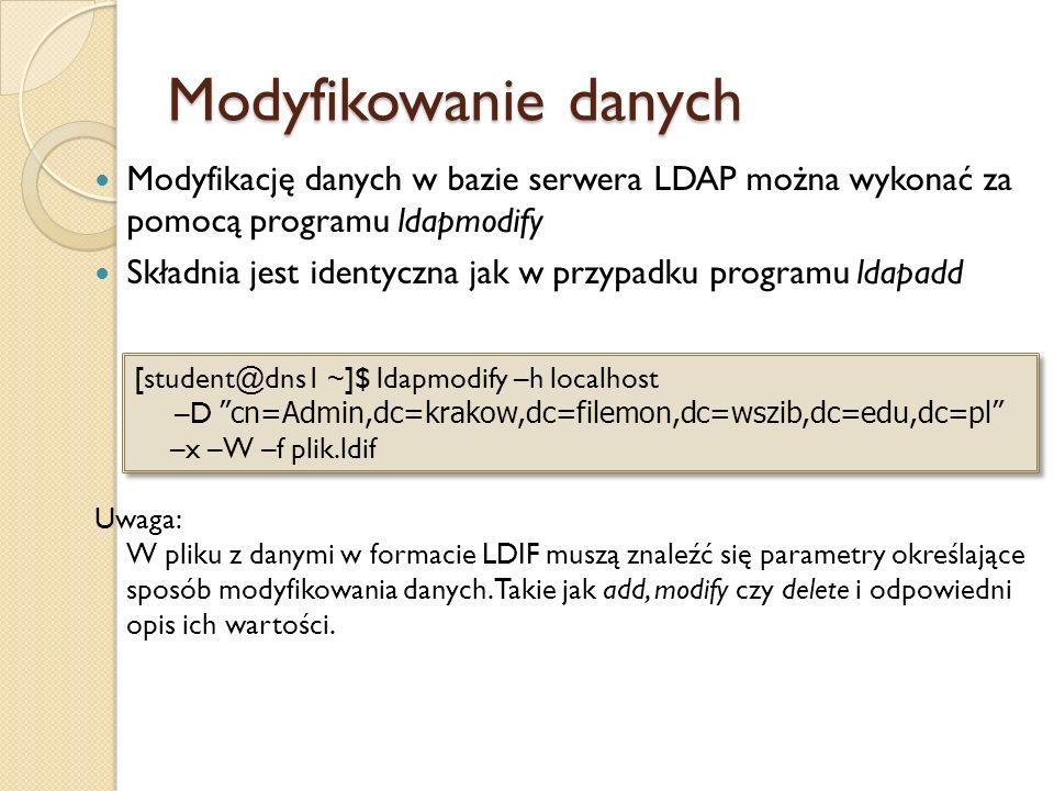 Modyfikowanie danych Modyfikację danych w bazie serwera LDAP można wykonać za pomocą programu ldapmodify Składnia jest identyczna jak w przypadku prog