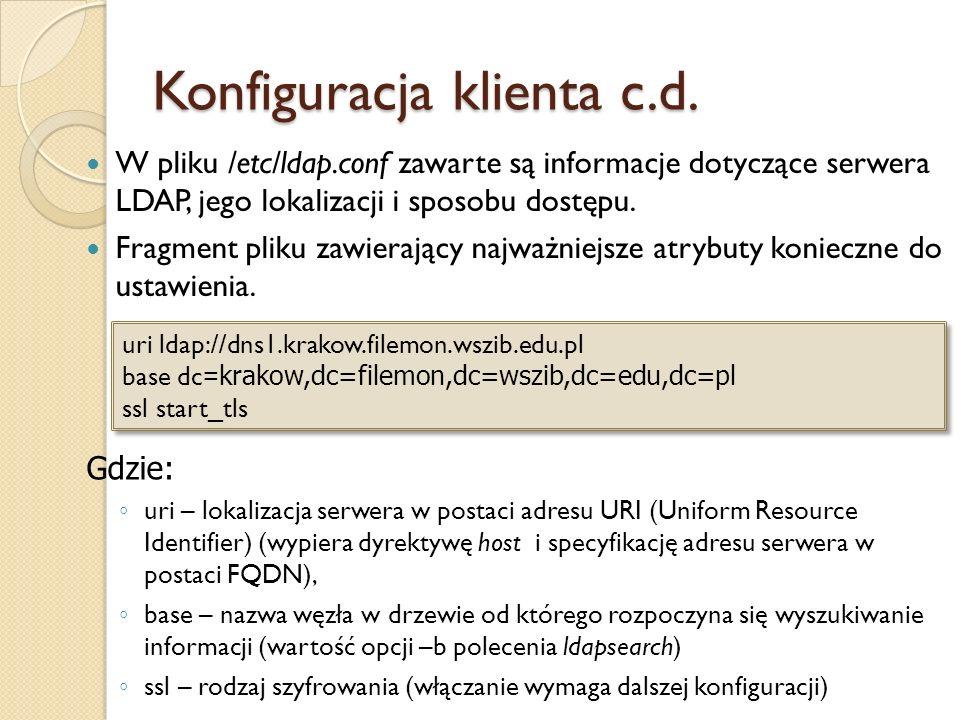 Konfiguracja klienta c.d. W pliku /etc/ldap.conf zawarte są informacje dotyczące serwera LDAP, jego lokalizacji i sposobu dostępu. Fragment pliku zawi