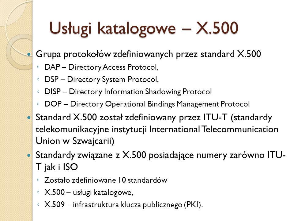 LDAP vs X.500 Powstał jako uproszczona (lightweight) wersja protokołu dostępu do usług katalogowych (DAP) opisanych przez X.500 Implementacja LDAP zawiera najważniejsze funkcjonalnie elementy DAP LDAP posiada pewne cechy, które nie występują w protokole DAP.