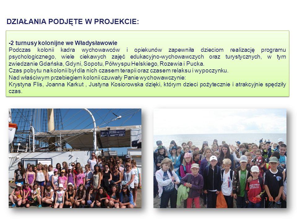 -2 turnusy kolonijne we Władysławowie Podczas kolonii kadra wychowawców i opiekunów zapewniła dzieciom realizację programu psychologicznego, wiele ciekawych zajęć edukacyjno-wychowawczych oraz turystycznych, w tym zwiedzanie Gdańska, Gdyni, Sopotu, Półwyspu Helskiego, Rozewia i Pucka.