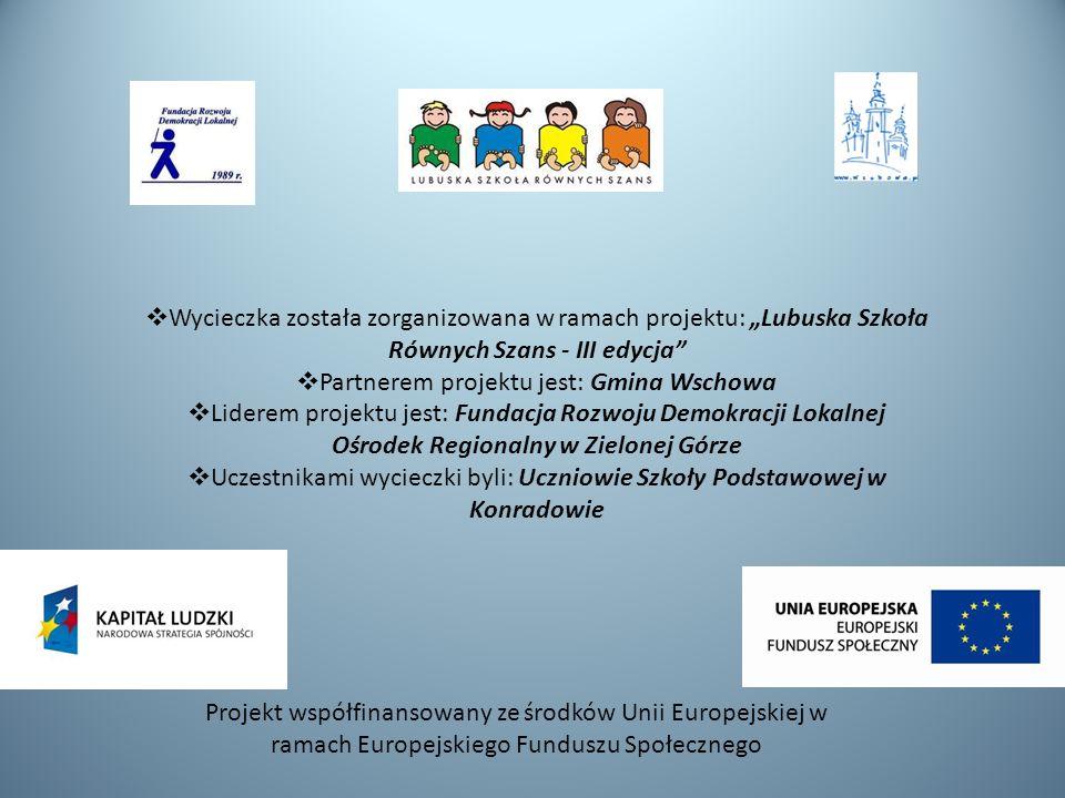Wycieczka została zorganizowana w ramach projektu: Lubuska Szkoła Równych Szans - III edycja Partnerem projektu jest: Gmina Wschowa Liderem projektu j