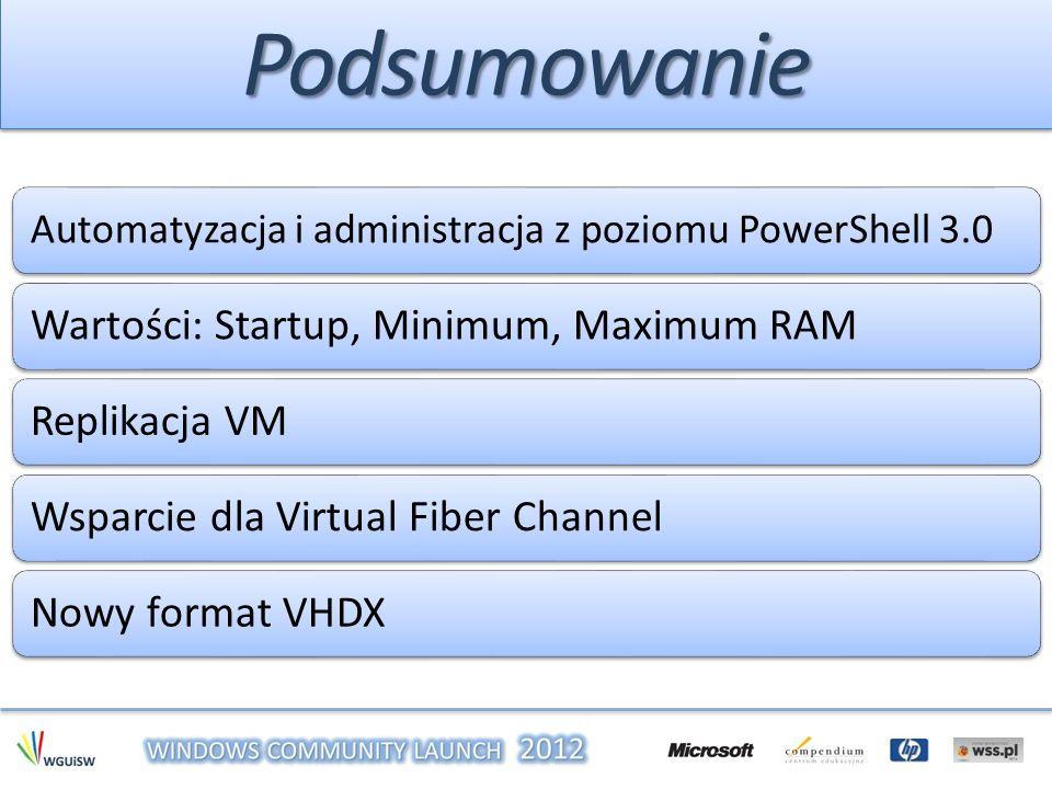 PodsumowaniePodsumowanie Automatyzacja i administracja z poziomu PowerShell 3.0 Wartości: Startup, Minimum, Maximum RAM Replikacja VM Wsparcie dla Vir
