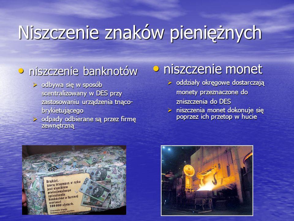 Niszczenie znaków pieniężnych niszczenie banknotów niszczenie banknotów odbywa się w sposób scentralizowany w DES przy zastosowaniu urządzenia tnąco-