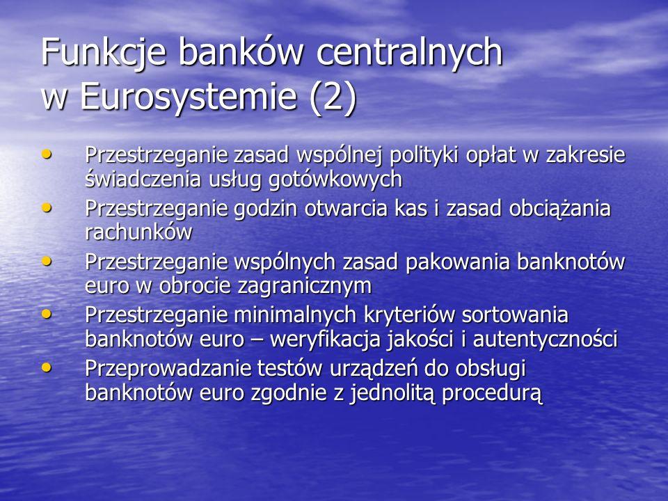 Funkcje banków centralnych w Eurosystemie (2) Przestrzeganie zasad wspólnej polityki opłat w zakresie świadczenia usług gotówkowych Przestrzeganie zas