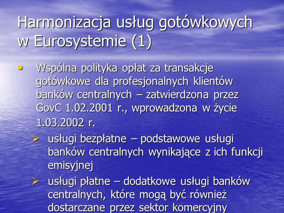 Harmonizacja usług gotówkowych w Eurosystemie (1) Wspólna polityka opłat za transakcje gotówkowe dla profesjonalnych klientów banków centralnych – zat