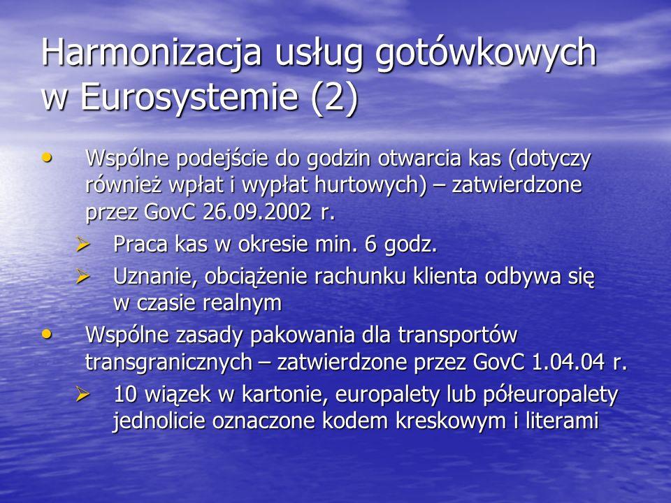 Harmonizacja usług gotówkowych w Eurosystemie (2) Wspólne podejście do godzin otwarcia kas (dotyczy również wpłat i wypłat hurtowych) – zatwierdzone p