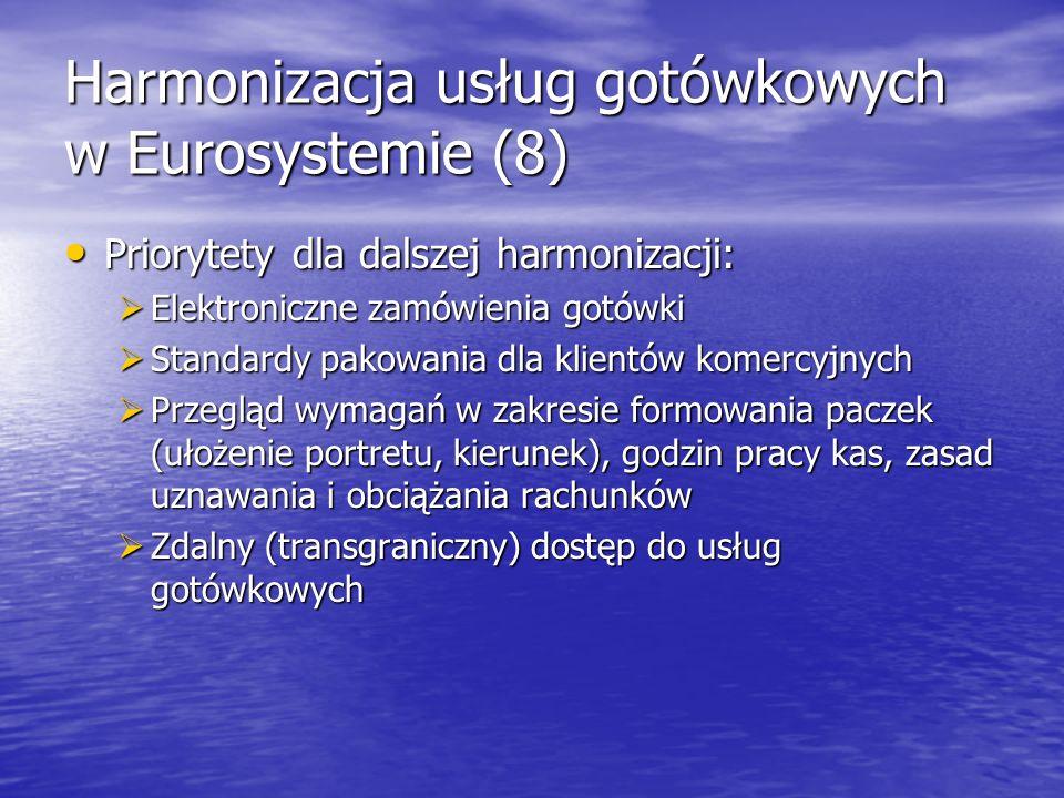 Harmonizacja usług gotówkowych w Eurosystemie (8) Priorytety dla dalszej harmonizacji: Priorytety dla dalszej harmonizacji: Elektroniczne zamówienia g