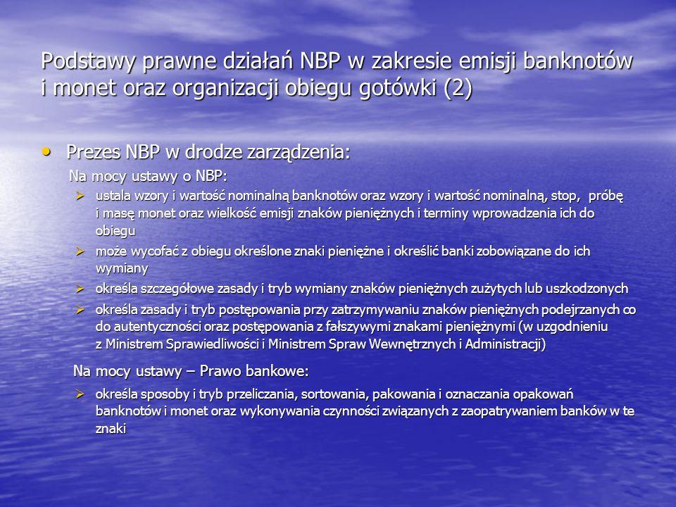 Podstawy prawne działań NBP w zakresie emisji banknotów i monet oraz organizacji obiegu gotówki (2) Prezes NBP w drodze zarządzenia: Prezes NBP w drod