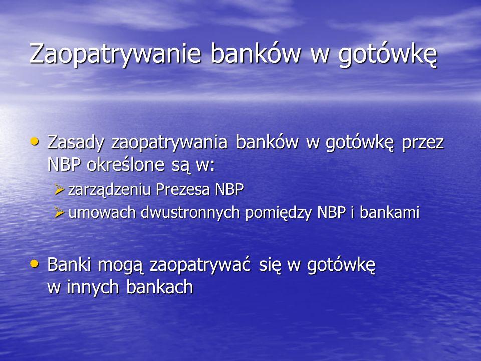 Zaopatrywanie banków w gotówkę przez NBP odbywa się w ramach dwóch systemów: System podstawowy System podstawowy umowa w sprawie trybu realizacji umów kupna- sprzedaży krajowych znaków pieniężnych (zawierana przez oddział okręgowy NBP z jednostką organizacyjną banku) umowa w sprawie trybu realizacji umów kupna- sprzedaży krajowych znaków pieniężnych (zawierana przez oddział okręgowy NBP z jednostką organizacyjną banku) umowa w sprawie trybu realizacji umów kupna- sprzedaży walut obcych (zawierana przez oddział okręgowy NBP z jednostką organizacyjną banku) umowa w sprawie trybu realizacji umów kupna- sprzedaży walut obcych (zawierana przez oddział okręgowy NBP z jednostką organizacyjną banku) System depozytowy System depozytowy ramowa umowa przechowania i zakupu znaków pieniężnych złożonych jako depozyt NBP (zawierana pomiędzy centralą NBP a centralą banku) ramowa umowa przechowania i zakupu znaków pieniężnych złożonych jako depozyt NBP (zawierana pomiędzy centralą NBP a centralą banku) umowa przechowania i zakupu znaków pieniężnych złożonych jako depozyt NBP (zawierana przez oddział okręgowy NBP z jednostką organizacyjną banku) umowa przechowania i zakupu znaków pieniężnych złożonych jako depozyt NBP (zawierana przez oddział okręgowy NBP z jednostką organizacyjną banku)