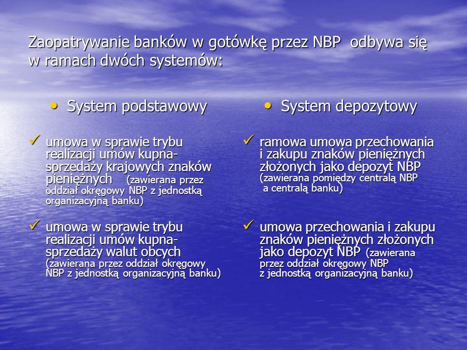 Zaopatrywanie banków w gotówkę przez NBP odbywa się w ramach dwóch systemów: System podstawowy System podstawowy umowa w sprawie trybu realizacji umów