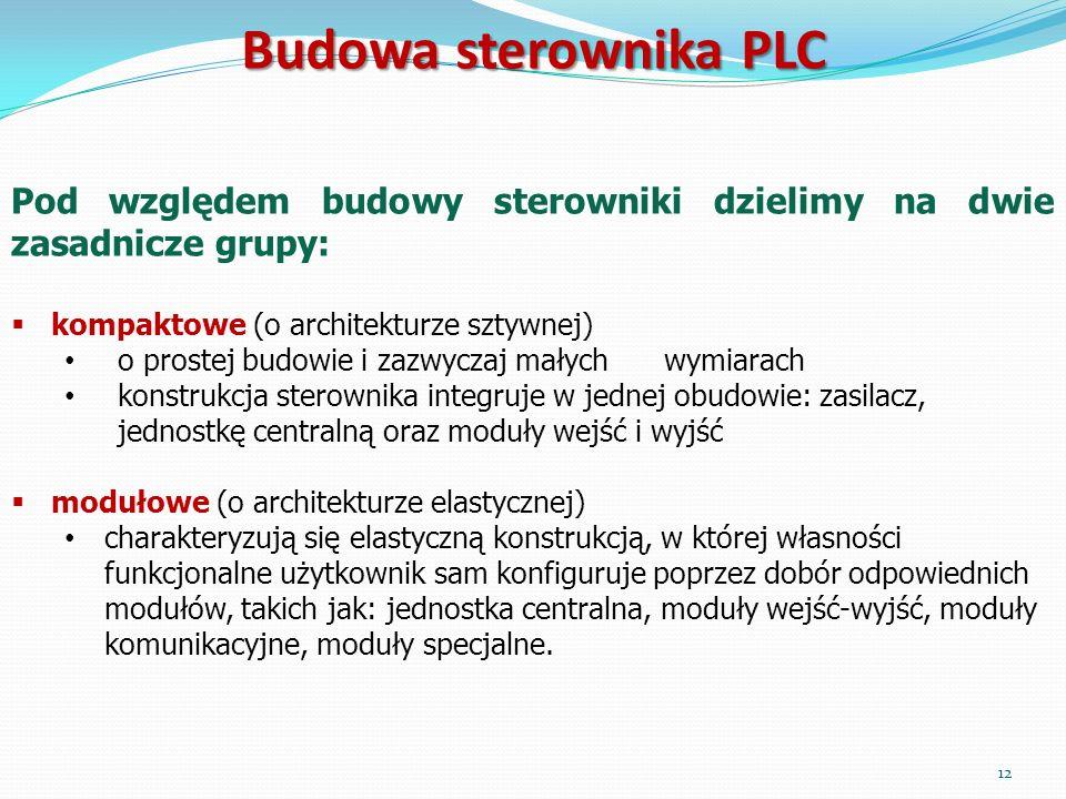 Budowa sterownika PLC Pod względem budowy sterowniki dzielimy na dwie zasadnicze grupy: kompaktowe (o architekturze sztywnej) o prostej budowie i zazw