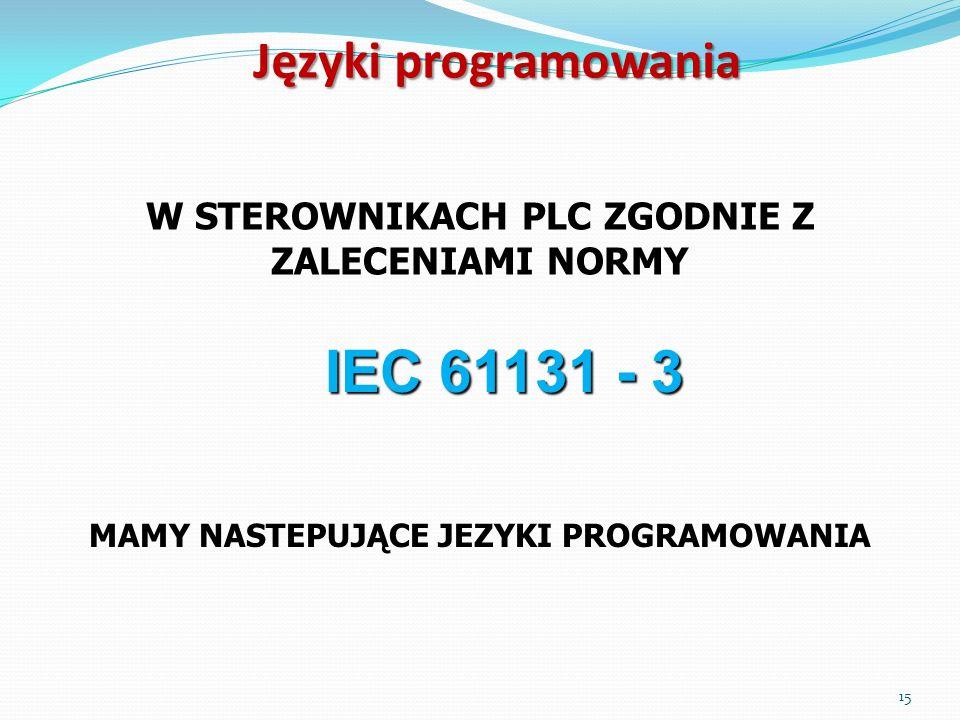 Języki programowania W STEROWNIKACH PLC ZGODNIE Z ZALECENIAMI NORMY IEC 61131 - 3 MAMY NASTEPUJĄCE JEZYKI PROGRAMOWANIA 15
