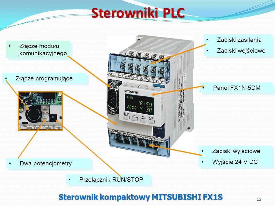 Sterowniki PLC Sterownik kompaktowy MITSUBISHI FX1S Zaciski wyjściowe Wyjście 24 V DC Zaciski wyjściowe Wyjście 24 V DC Złącze programujące Zaciski za