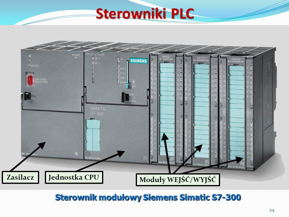 Sterowniki PLC Sterownik modułowy Siemens Simatic S7-300 ZasilaczJednostka CPU Moduły WEJŚĆ/WYJŚĆ 24