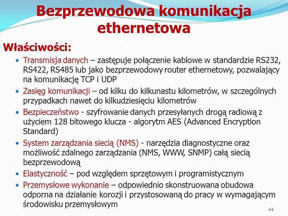 Właściwości: Transmisja danych – zastępuje połączenie kablowe w standardzie RS232, RS422, RS485 lub jako bezprzewodowy router ethernetowy, pozwalający