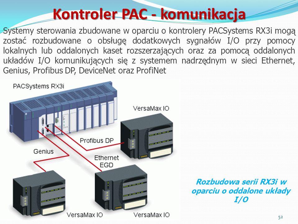 Systemy sterowania zbudowane w oparciu o kontrolery PACSystems RX3i mogą zostać rozbudowane o obsługę dodatkowych sygnałów I/O przy pomocy lokalnych l