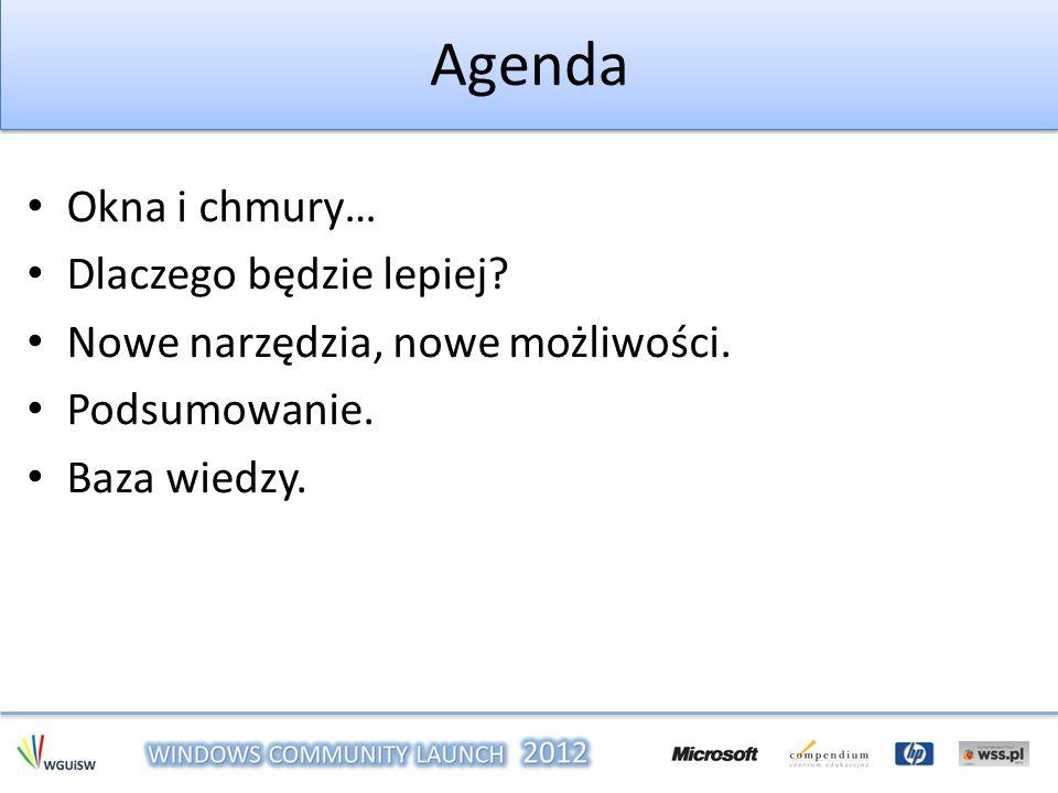 Agenda Okna i chmury… Dlaczego będzie lepiej.Nowe narzędzia, nowe możliwości.