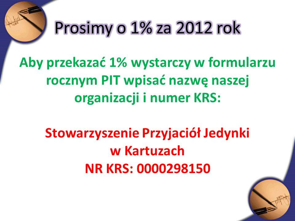 Aby przekazać 1% wystarczy w formularzu rocznym PIT wpisać nazwę naszej organizacji i numer KRS: Stowarzyszenie Przyjaciół Jedynki w Kartuzach NR KRS: 0000298150