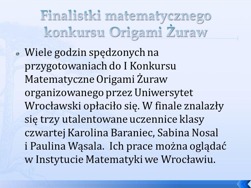 Wiele godzin spędzonych na przygotowaniach do I Konkursu Matematyczne Origami Żuraw organizowanego przez Uniwersytet Wrocławski opłaciło się. W finale