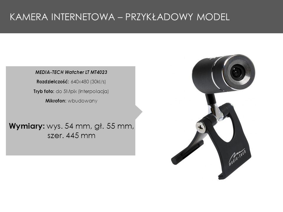 KAMERA INTERNETOWA – PRZYKŁADOWY MODEL MEDIA-TECH Watcher LT MT4023 Rozdzielczość: 640x480 (30kl/s) Tryb foto: do 5Mpix (interpolacja) Mikrofon: wbudowany Wymiary: wys.