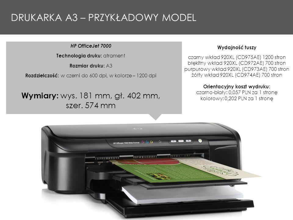 HP OfficeJet 7000 Technologia druku: atrament Rozmiar druku: A3 Rozdzielczość: w czerni do 600 dpi, w kolorze – 1200 dpi Wymiary: wys. 181 mm, gł. 402