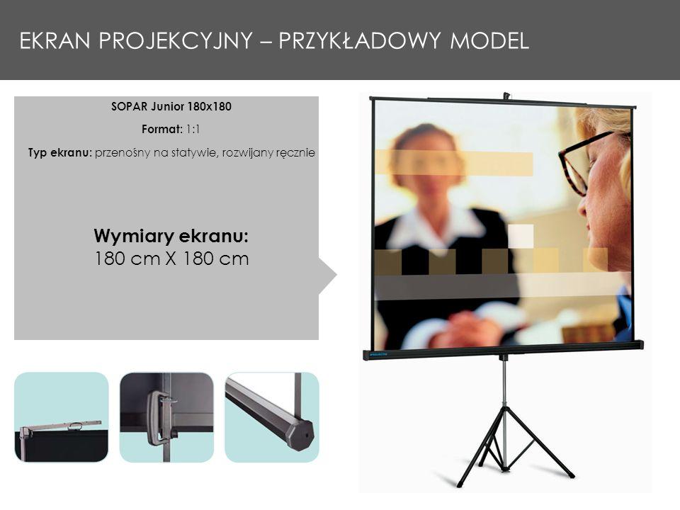 EKRAN PROJEKCYJNY – PRZYKŁADOWY MODEL SOPAR Junior 180x180 Format: 1:1 Typ ekranu: przenośny na statywie, rozwijany ręcznie Wymiary ekranu: 180 cm X 1