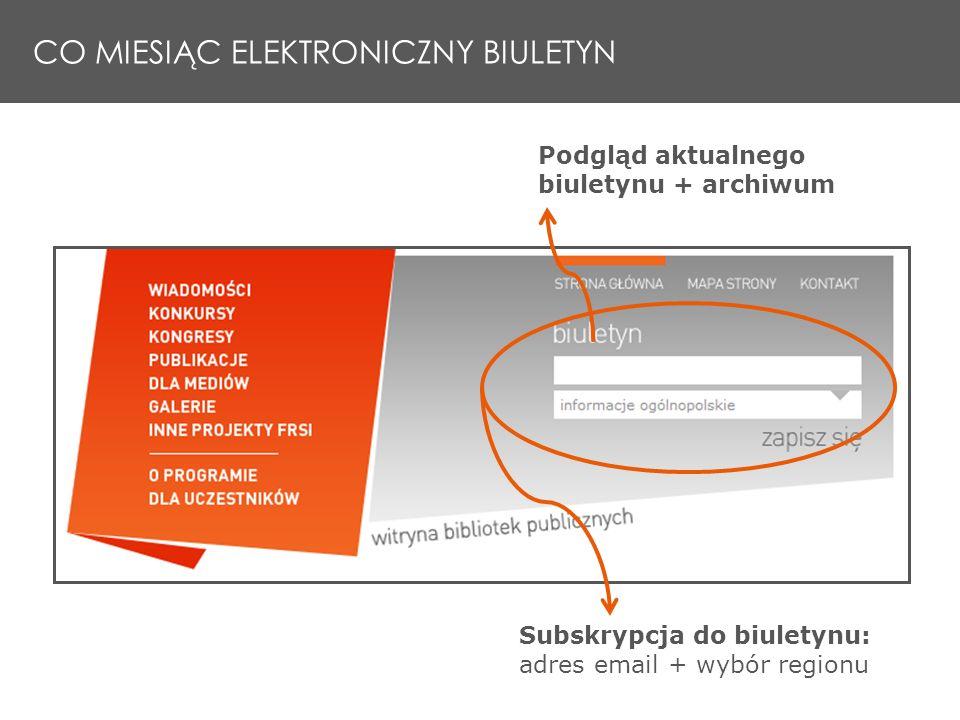 Subskrypcja do biuletynu: adres email + wybór regionu Podgląd aktualnego biuletynu + archiwum CO MIESIĄC ELEKTRONICZNY BIULETYN
