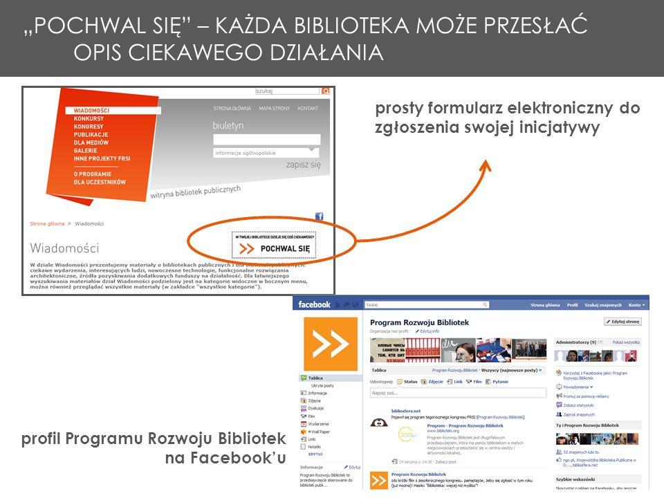 prosty formularz elektroniczny do zgłoszenia swojej inicjatywy Podgląd aktualnego biuletynu + archiwum profil Programu Rozwoju Bibliotek na Facebooku