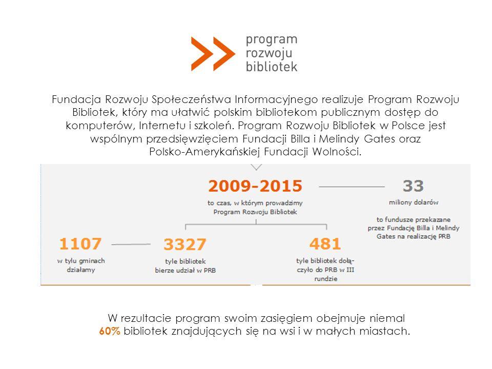 Fundacja Rozwoju Społeczeństwa Informacyjnego realizuje Program Rozwoju Bibliotek, który ma ułatwić polskim bibliotekom publicznym dostęp do komputerów, Internetu i szkoleń.