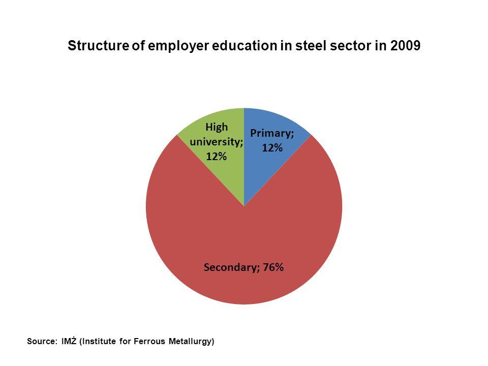 Professional skills today and tomorrow – study of adaptability of enterprises and employees in the steel sector Metodologia badań ilościowych Rozesłanie kwestionariuszy – ankiet do: -przedstawicieli pracodawców (HR odpowiedzialni za szklenia) -działaczy związkowych na poziomie zakładu pracy -liderów ponadzakładowych związków zawodowych Otrzymano zwrotnie 35 kwestionariuszy obejmujących zakłady pracy zatrudniające około 17 tys.