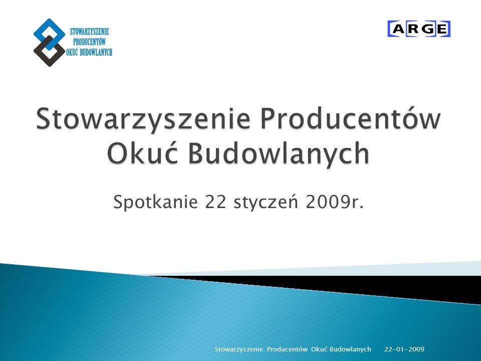 Spotkanie 22 styczeń 2009r. 22-01-2009 Stowarzyszenie Producentów Okuć Budowlanych