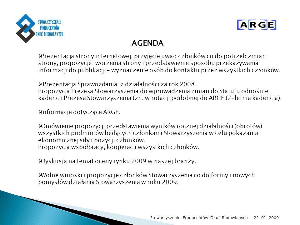 22-01-2009 Stowarzyszenie Producentów Okuć Budowlanych AGENDA Prezentacja strony internetowej, przyjęcie uwag członków co do potrzeb zmian strony, pro