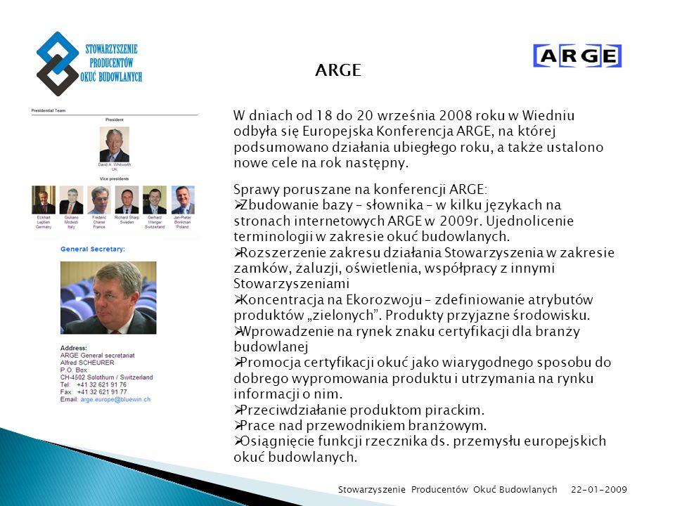 22-01-2009 Stowarzyszenie Producentów Okuć Budowlanych ARGE W dniach od 18 do 20 września 2008 roku w Wiedniu odbyła się Europejska Konferencja ARGE,