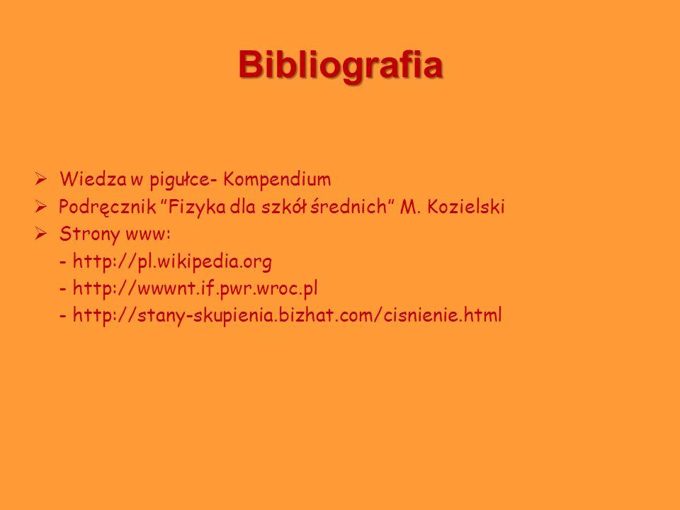 Bibliografia Wiedza w pigułce- Kompendium Podręcznik Fizyka dla szkół średnich M. Kozielski Strony www: - http://pl.wikipedia.org - http://wwwnt.if.pw