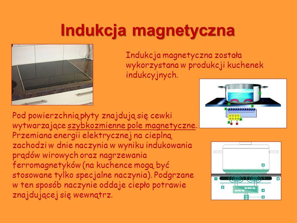 Indukcja magnetyczna Pod powierzchnią płyty znajdują się cewki wytwarzające szybkozmienne pole magnetyczne. Przemiana energii elektrycznej na cieplną