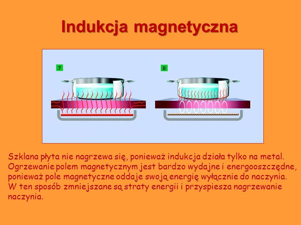 Indukcja magnetyczna Szklana płyta nie nagrzewa się, ponieważ indukcja działa tylko na metal. Ogrzewanie polem magnetycznym jest bardzo wydajne i ener