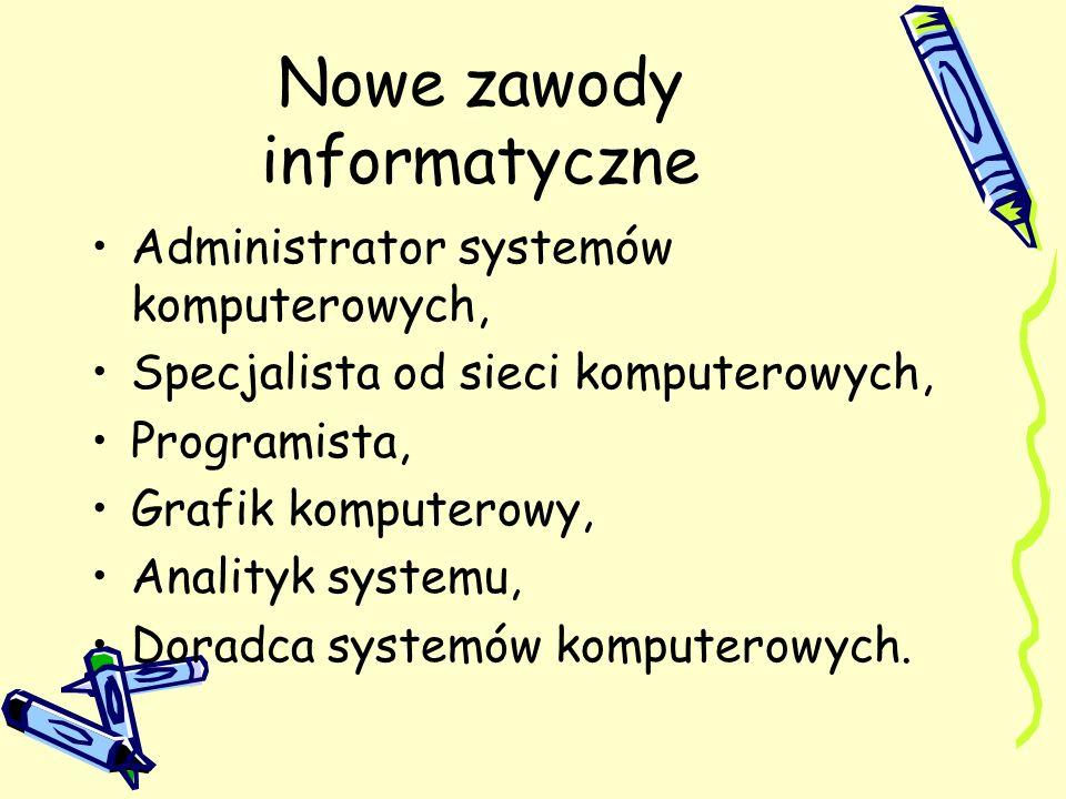 Nowe zawody informatyczne Administrator systemów komputerowych, Specjalista od sieci komputerowych, Programista, Grafik komputerowy, Analityk systemu,