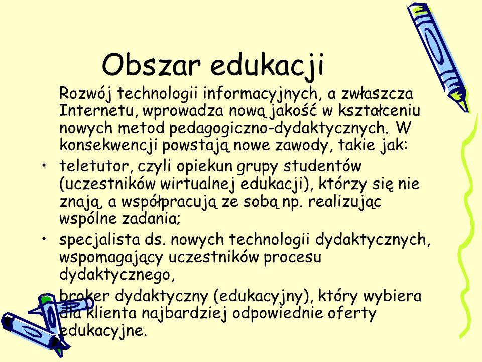Obszar edukacji Rozwój technologii informacyjnych, a zwłaszcza Internetu, wprowadza nową jakość w kształceniu nowych metod pedagogiczno-dydaktycznych.