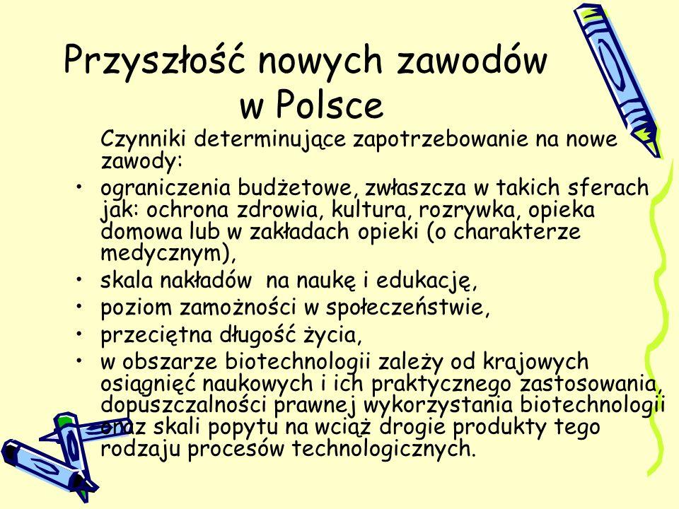 Przyszłość nowych zawodów w Polsce Czynniki determinujące zapotrzebowanie na nowe zawody: ograniczenia budżetowe, zwłaszcza w takich sferach jak: ochr