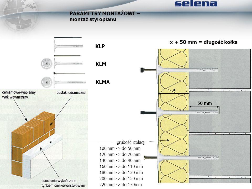 PARAMETRY MONTAŻOWE – montaż styropianu 50 mm x x + 50 mm = długość kołka grubość izolacji 100 mm -> do 50 mm 120 mm -> do 70 mm 140 mm -> do 90 mm 16