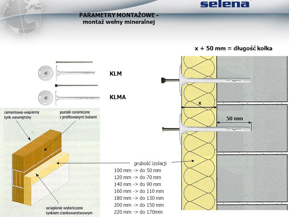 PARAMETRY MONTAŻOWE - montaż wełny mineralnej 50 mm x x + 50 mm = długość kołka grubość izolacji 100 mm -> do 50 mm 120 mm -> do 70 mm 140 mm -> do 90